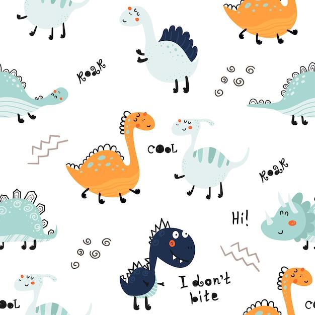 Безшовная картина с милыми динозаврами. Premium векторы