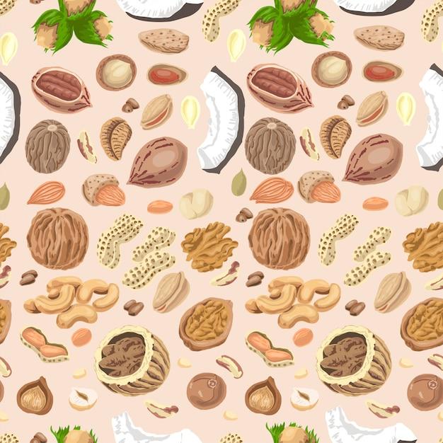色付きナッツと種子のシームレスパターン Premiumベクター