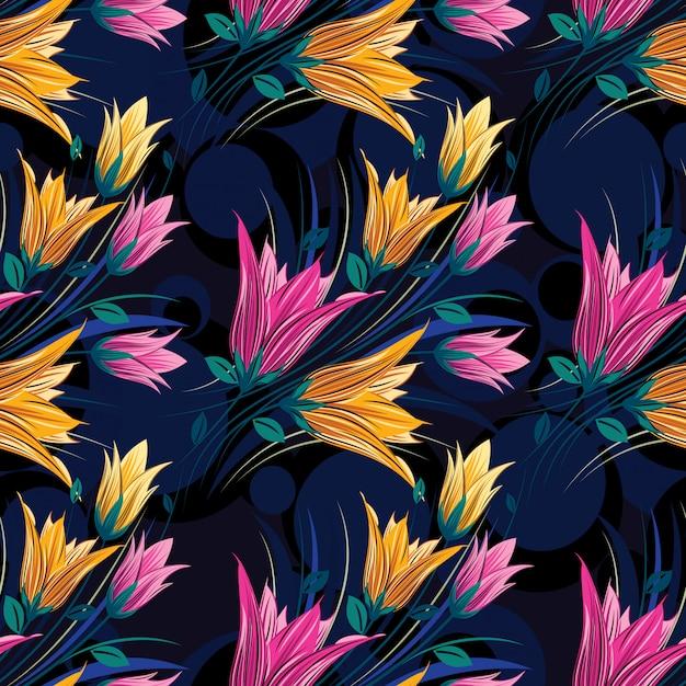 Акварельные цветочные листья бесшовные модели Premium векторы