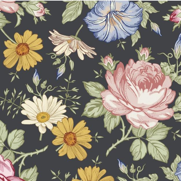 花葉のシームレスなパターン背景ベクトルテンプレート Premiumベクター