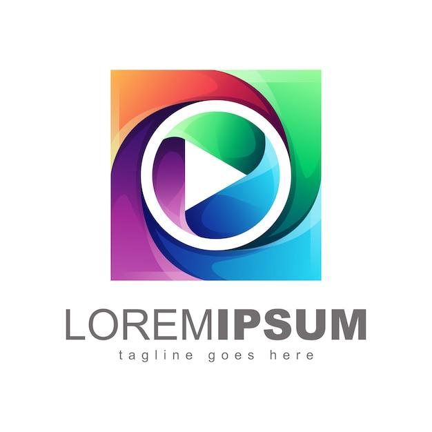 カラフルなメディアのロゴデザインのベクトル Premiumベクター