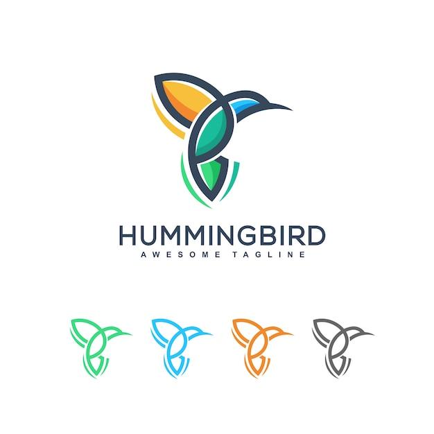 抽象的なハミング鳥イラストベクターデザインテンプレート Premiumベクター
