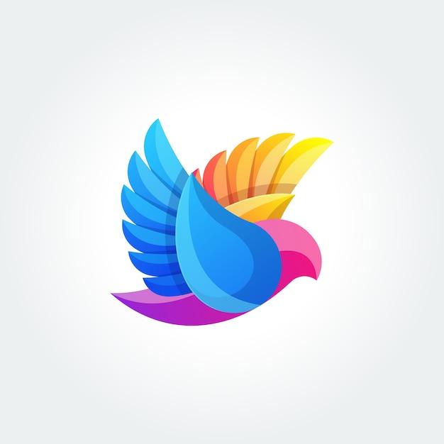 鳥の抽象的なロゴデザインベクトルテンプレート。飛行鳩ロゴタイプコンセプトアイコン Premiumベクター