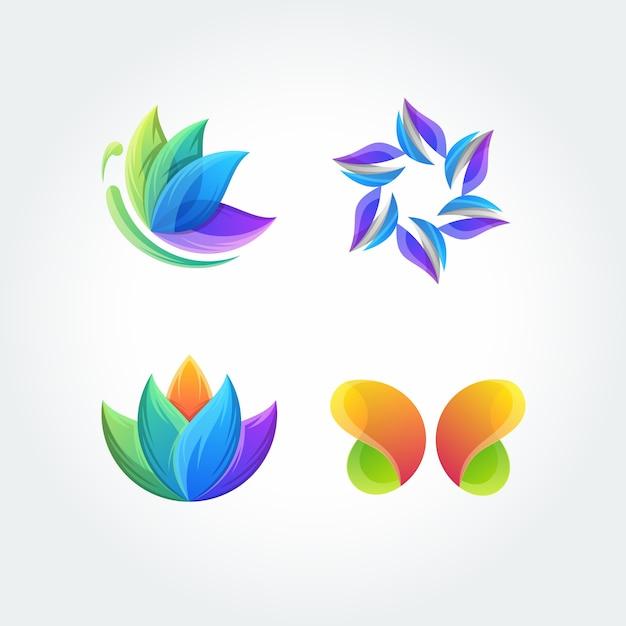 自然葉蝶設定アプリケーションアイコンロゴベクトル Premiumベクター