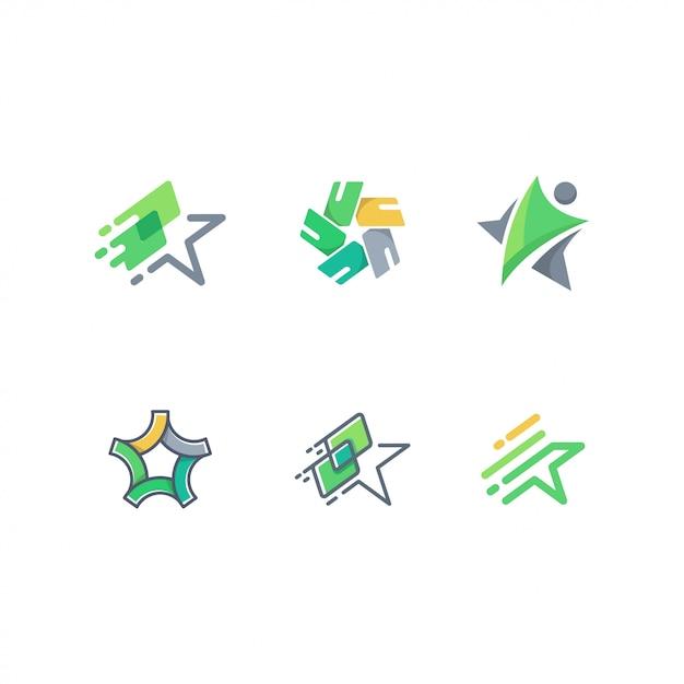 抽象的なスタート、人、そしてカードのロゴパックベクトルテンプレート Premiumベクター