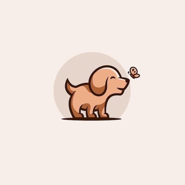 フラットなデザインのかわいい犬のイラスト Premiumベクター
