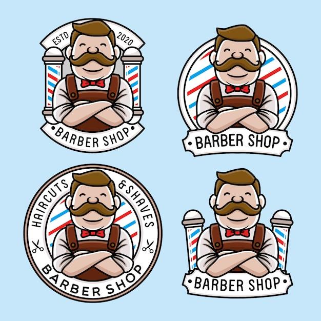 Набор шаблонов логотипа милый парикмахерская Premium векторы