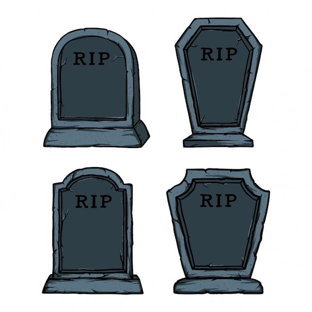 ハロウィーンのための優しい石の墓のパックがアクセサリーです。テキスト名と期限を追加するのが簡単 Premiumベクター