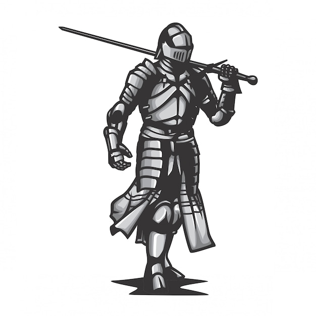 Металлическая броня рыцарь вектор Premium векторы