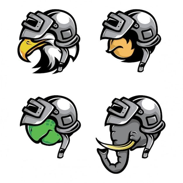 動物の身に着けている戦争ヘルメットベクトル Premiumベクター