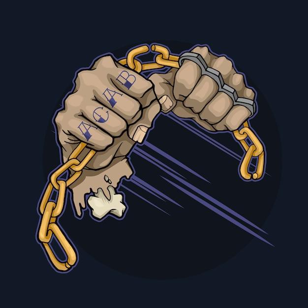 Руки с татуировками и кастетами ломают металлическую цепь Premium векторы