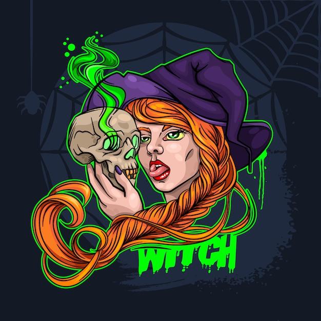 Ведьма и череп хэллоуин векторная иллюстрация Premium векторы