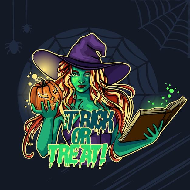Ведьма и тыква хэллоуин кошелек или жизнь! Premium векторы