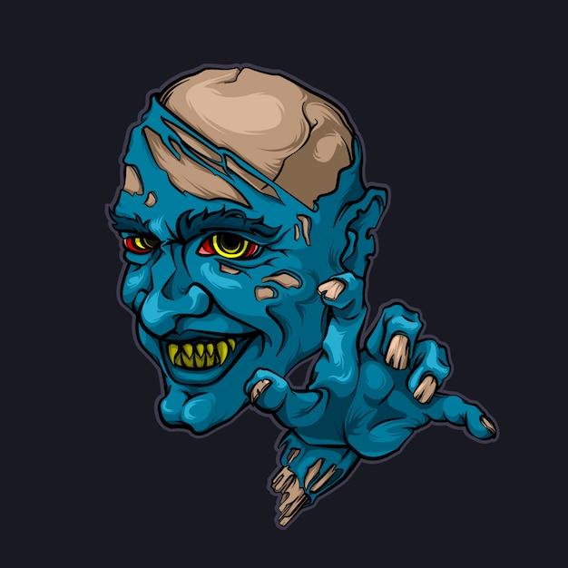 邪悪な悪魔の吸血鬼ゾンビハロウィーンのベクトル図 Premiumベクター