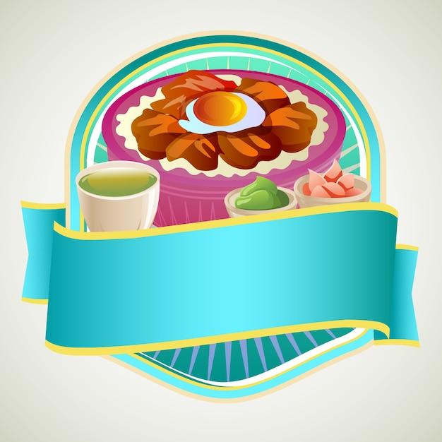タコヤキとアジア料理のお米ボウルバッジ Premiumベクター