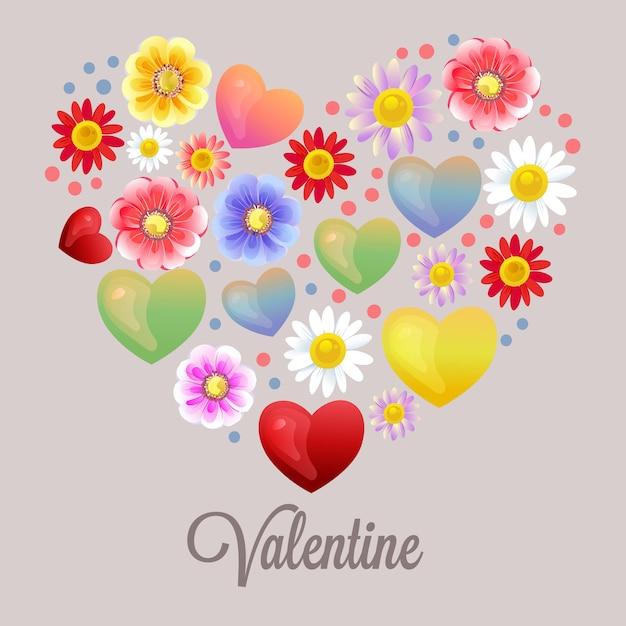 幸せなバレンタイン形ハートの花飾り Premiumベクター