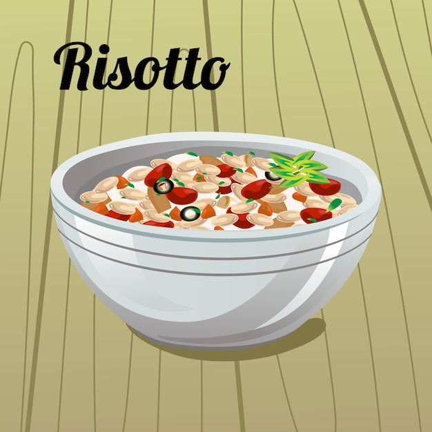イタリア料理のリゾットイラスト ベクター画像 プレミアムダウンロード