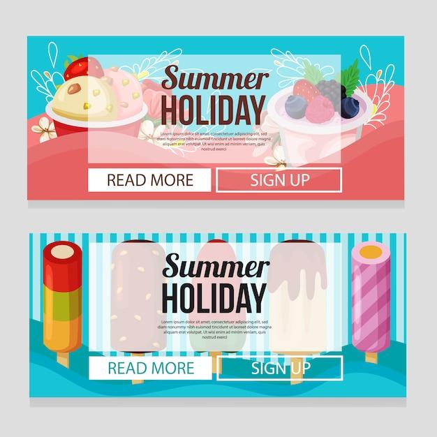 アイスクリームのテーマベクトルイラストかわいい夏の休日バナーテンプレート Premiumベクター