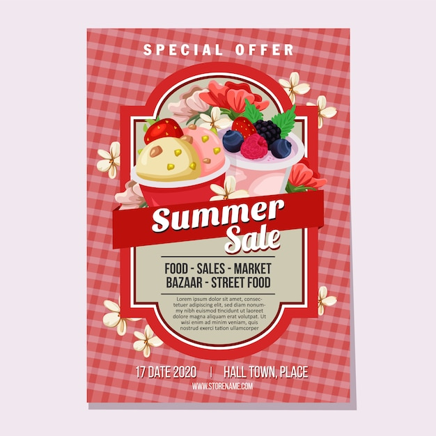 夏のセールのチラシテンプレートアイスクリーム市場のテーマのベクトル図 Premiumベクター