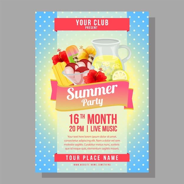 Летняя вечеринка плакат праздник с освежающей векторные иллюстрации Premium векторы