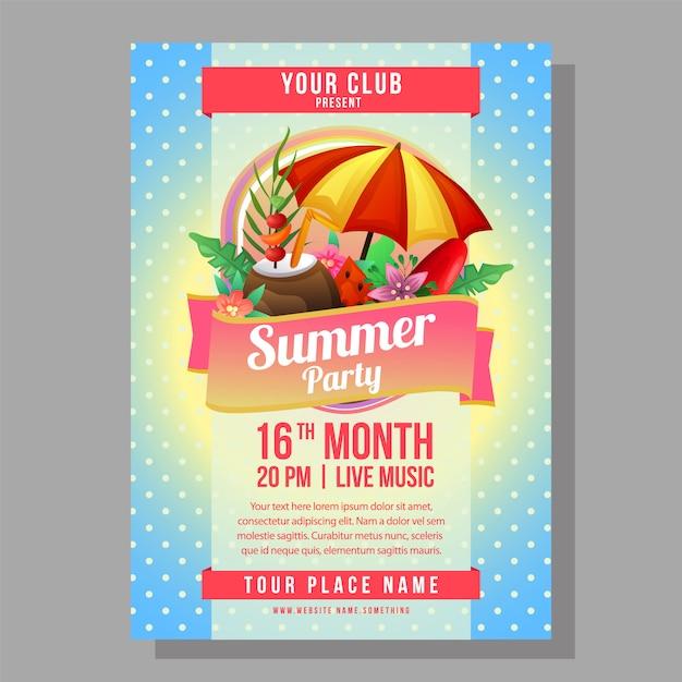Летний праздник плакат шаблон праздник с зонтиком пляж векторная иллюстрация Premium векторы