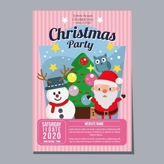 Рождественская вечеринка фестиваль праздник плакат шаблон снеговик санта дерево плоский стиль Premium векторы