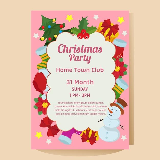 Рождественская вечеринка постер с пуансеттия снеговика Premium векторы