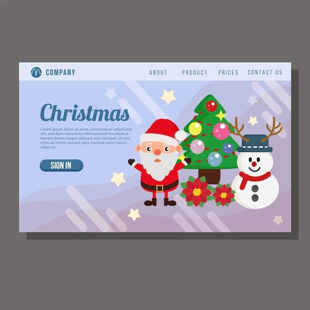 Рождественская распродажа посадочная страница снеговик сосна Premium векторы