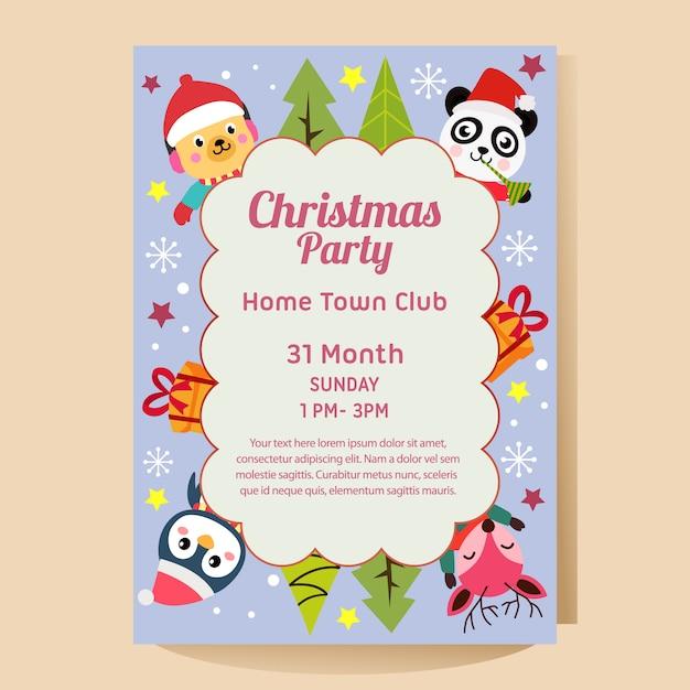 クリスマスパンダペンギン鹿犬とクリスマスパーティーのポスター Premiumベクター