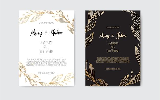 花の要素と黄金の招待状。 Premiumベクター