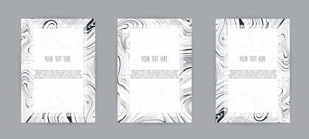 大理石の質感とエレガントなカードのセット Premiumベクター
