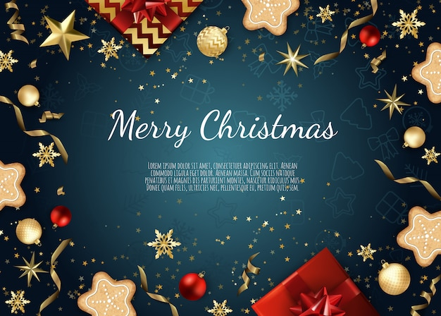 クリスマスのグリーティングカード Premiumベクター