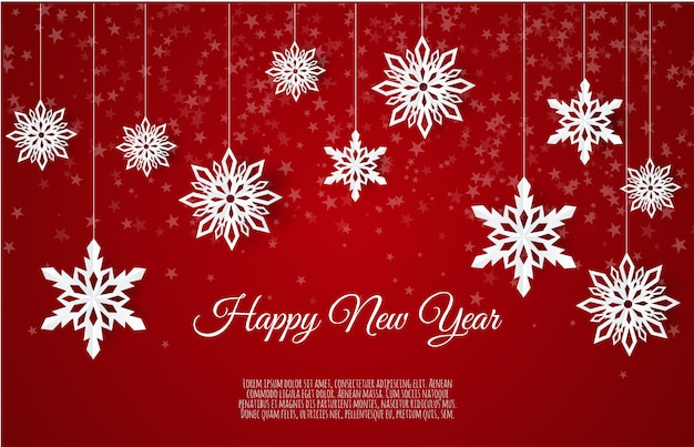 紙雪の結晶、冬の背景に落ちる雪のクリスマスカード Premiumベクター