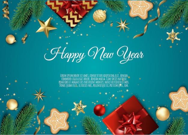クリスマスツリーの枝、金の星、クリスマスボール、テキスト用のスペースとバナー、 Premiumベクター