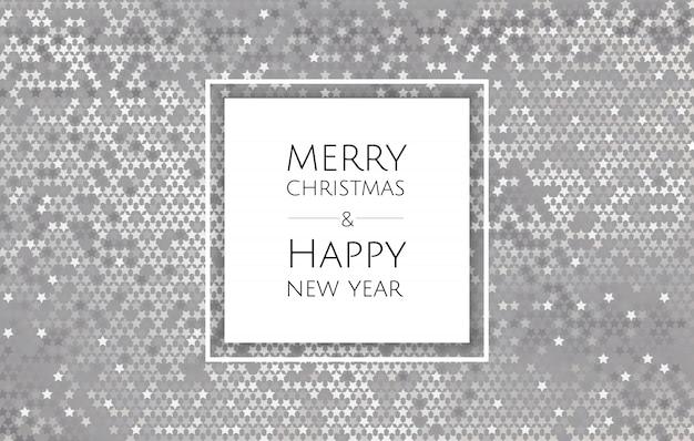 Рождественский и новогодний фон с серебряной блестящей текстурой, рождественская открытка Premium векторы