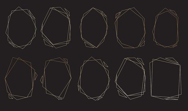 Набор полигональных рамок Premium векторы