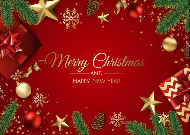 Открытка с новым годом и рождеством Premium векторы