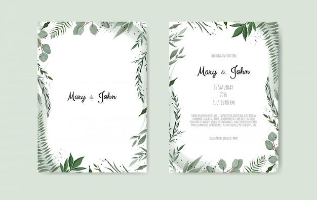 植物の結婚式の招待状カードのテンプレート Premiumベクター