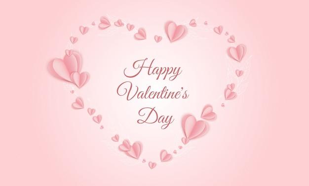 バレンタイン・デー 。ピンクの紙の心。かわいい愛販売バナーまたはグリーティングカード Premiumベクター