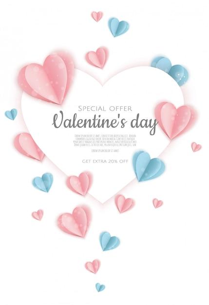 День святого валентина продажа фон с формы сердца. может быть использован для флаеров, плакатов, баннеров. Premium векторы