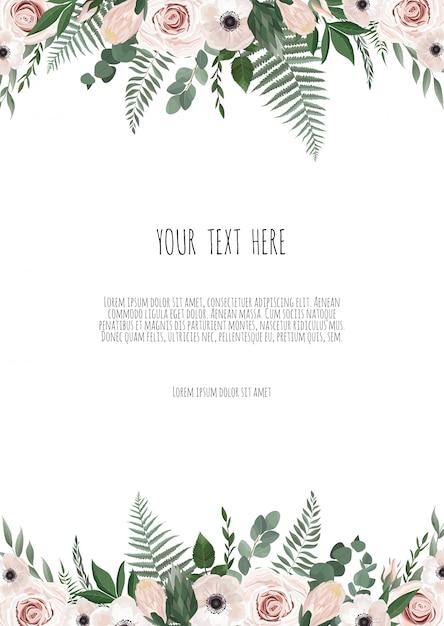 植物の結婚式の招待状カードのテンプレートデザイン Premiumベクター