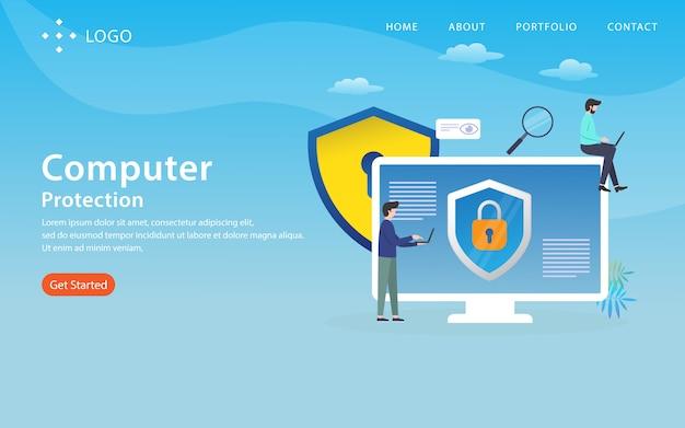 Защита компьютера, шаблон веб-сайта, многоуровневый, легко редактировать и настраивать, концепция иллюстрации Premium векторы