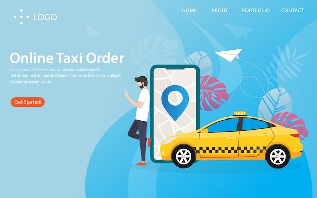 Онлайн заказ такси, посадочная страница Premium векторы