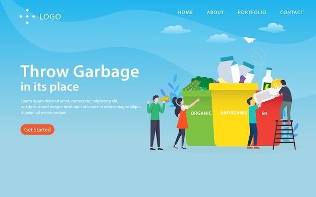 Бросьте мусор на место, шаблон сайта, многоуровневый, легко редактировать и настраивать, концепция иллюстрации Premium векторы