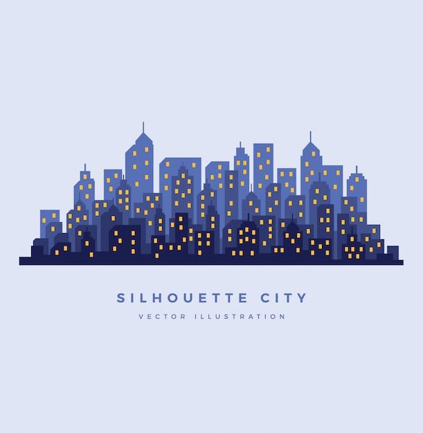 Силуэт ночной город фон Premium векторы