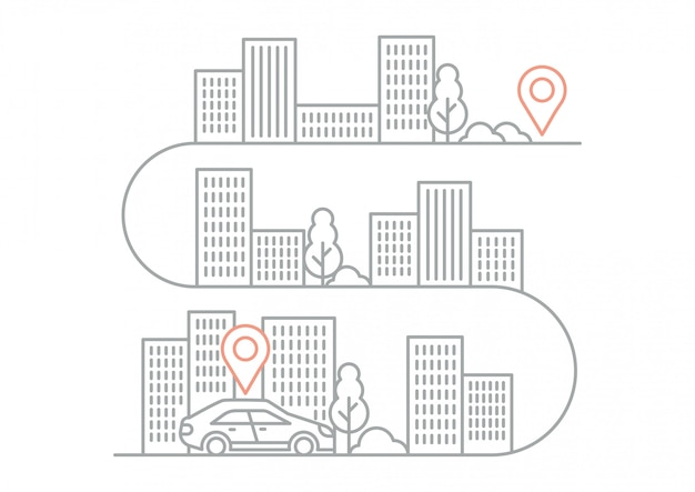 Иллюстрация навигационных указаний с автомобилем Premium векторы