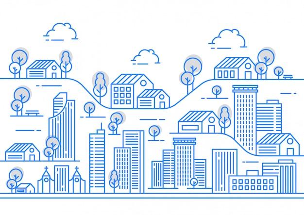Иллюстрация линии города с различными формами здания Premium векторы