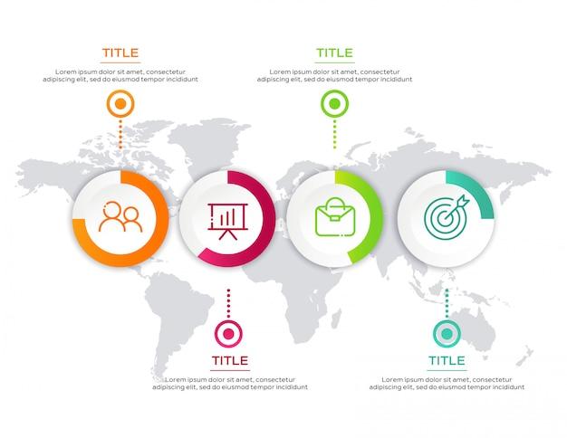 マップとビジネスインフォグラフィックテンプレート Premiumベクター