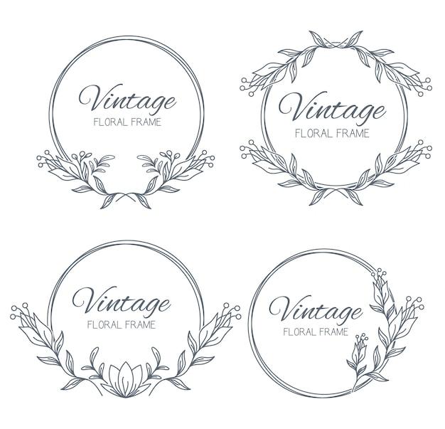 Коллекция цветочных рамок. уникальное украшение для поздравительной открытки, свадебного приглашения Premium векторы