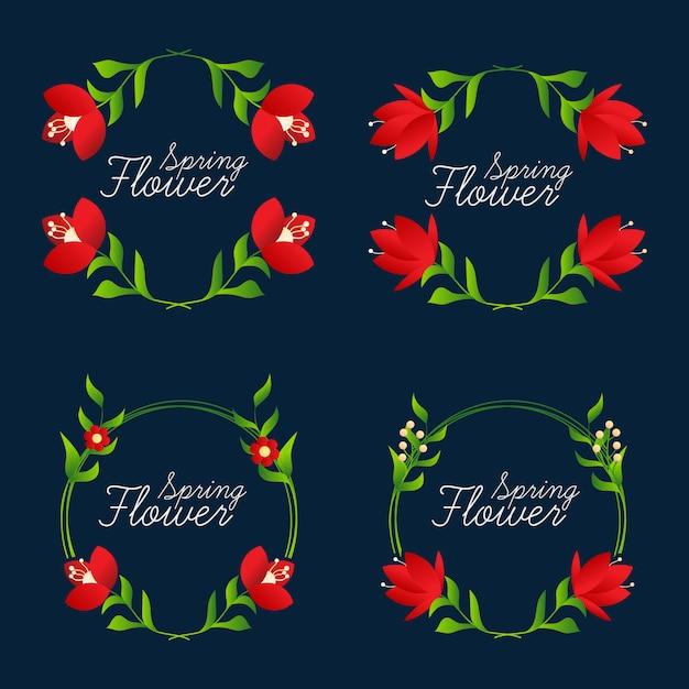 コレクション美しい花のフレーム Premiumベクター